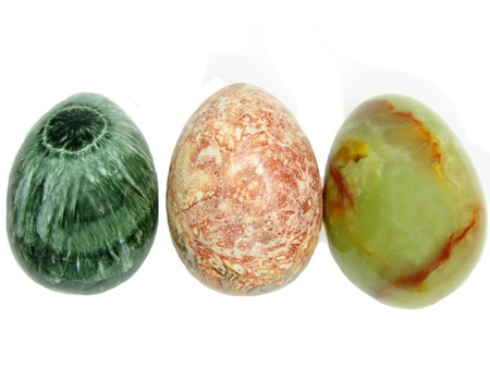 jasper clinochlore and onyx eggs semigem mineral isolated Stock Photo - 13200404
