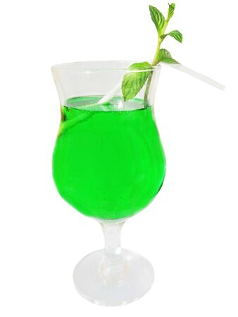 cordial: green cordial with mint isolated Stock Photo