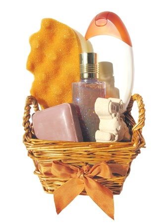 set fot taking a shower in a present basket photo