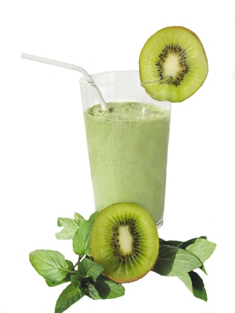 coctail: green cocktail with kiwi isolated