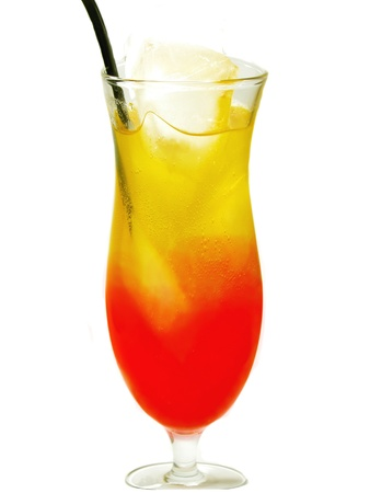 alcoholic red and yellow tequila sunrise cocktail with ice Stock Photo - 13490678