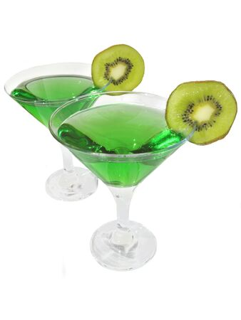 cordial: two glasses of green cordial with kiwi