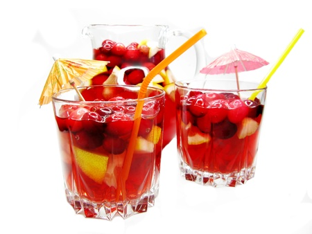 fruit cruchon cocktail punch in jug with ice and fruit photo