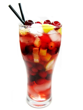 alcoholic drinks: red fruit punch cocktail drink with cherry lemon and ice