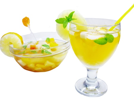fruit cruchon cocktail punch in bowl and glass with ice and fruit Stock Photo - 13834494