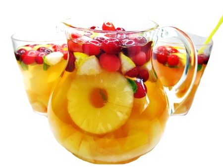 fruit cruchon cocktail punch in jug and glasses with ice and fruit Stock Photo - 13834517