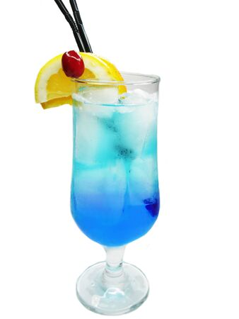 alcoholic blue curacao cocktail with ice  photo