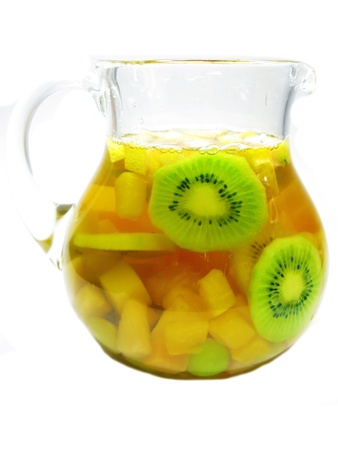 cruchon: fruit cruchon cocktail punch in jug with ice and fruit