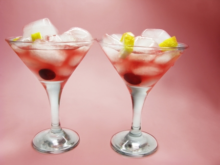 alcoholic red wine cocktails with ice and cherry Stock Photo