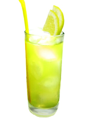 yello: alcoholic yello wcocktail drink with ice and lemon