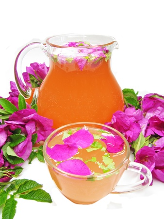 rose punch tea cocktail punch in jug and cup  Stock Photo - 13918955