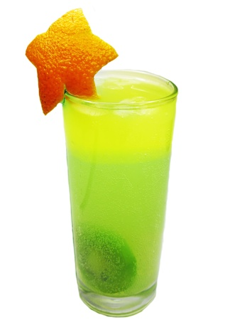 alcoholic kiwi juice drink with ice and orange Stock Photo - 13939550
