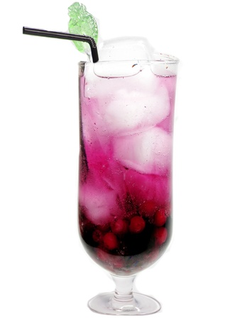 berry juice drink with ice currant blackberry and strawberry Stock Photo