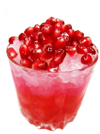 cruchon: red fruit punch cocktail drink with pomegranate and ice