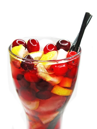 fruit red juice drink with ice and cherry photo