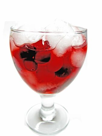cruchon: alcoholic cruchon cocktail with ice and cherry Stock Photo