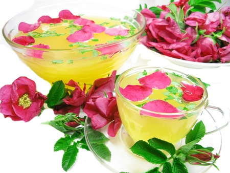 rose punch tea cocktail punch in bowl and cup  photo