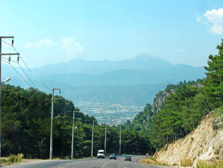 curve road in high mountains fethiye turkey photo