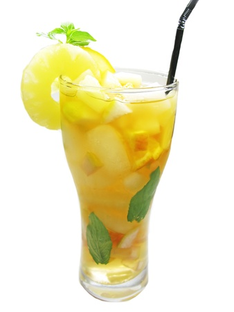 fruit cruchon cocktail punch with ice and fruit photo