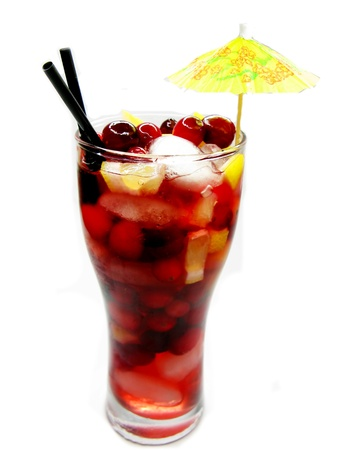 cruchon: fruit cruchon cocktail punch in glass with ice and fruit