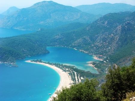 panorama of oludeniz lagoon in sea landscape view of beach  Stock Photo