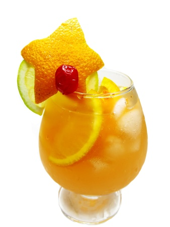 orange fruit punch cocktail drink with cherry lemon and ice photo