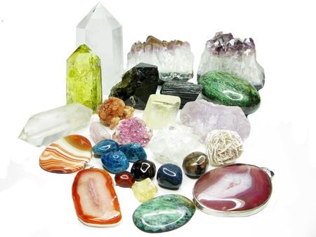 Ametista quarzo citrino semigem geode minerale cristalli geologico isolato Archivio Fotografico - 16448193