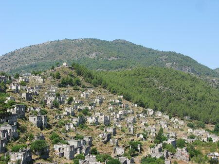 kayakoy: panorama of ruins of ancient city kayakoy turkey