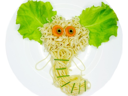 creative spaghetti food garnish with elephant shape photo
