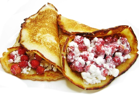 wild strawberry: sweet pancakes with wild strawberry jam sweet dessert food