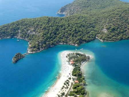 panorama of oludeniz lagoon in sea landscape view of beach  photo