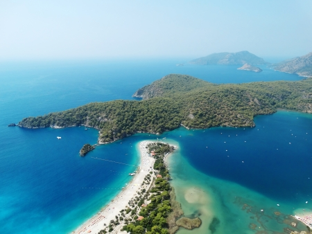 panorama of oludeniz lagoon in sea landscape view of beach  Stock Photo