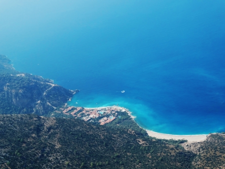 mediterranean sea landscape view of coast and mountains photo