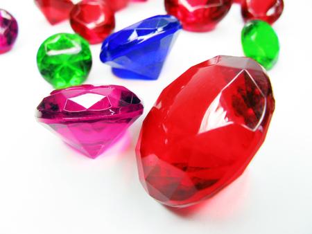 diamond stones: diamond sapphire ruby emerald gem stones crystals isolated on white background Stock Photo