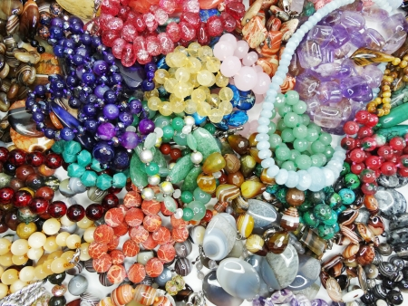 semiprecious beads made of geological minerals