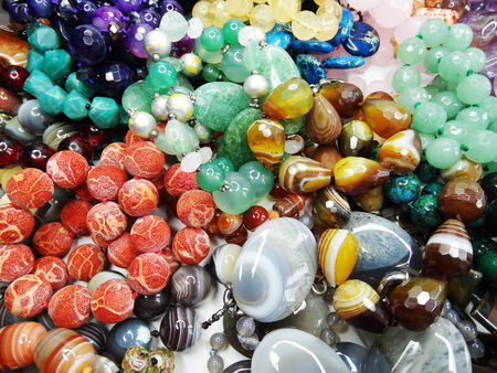 semiprecious beads made of geological minerals photo
