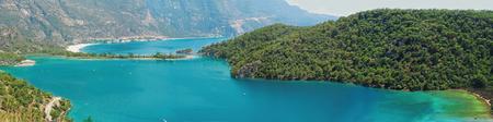 oludeniz: panorama of oludeniz lagoon in sea landscape view of beach  Stock Photo