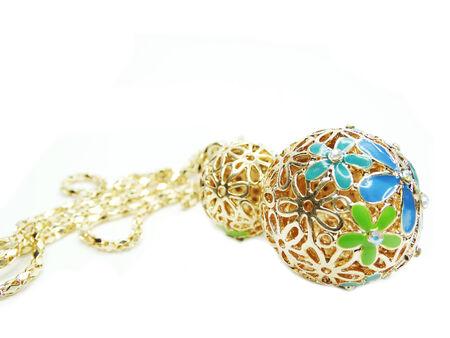 diamong: gold pendant with diamong jewelery crystals Stock Photo