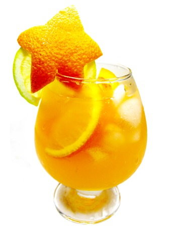 cruchon: alcoholic cruchon cocktail with ice and orange Stock Photo