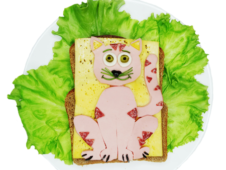 salame: creative sandwich with cheese and salame cat shape