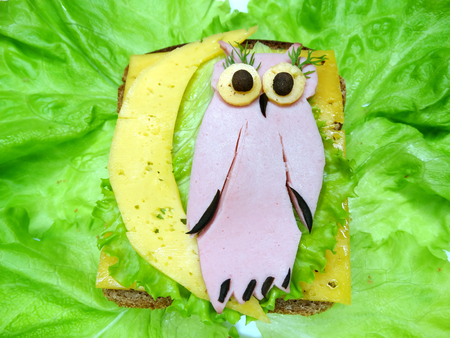 salame: creative sandwich with cheese and salame owl shape