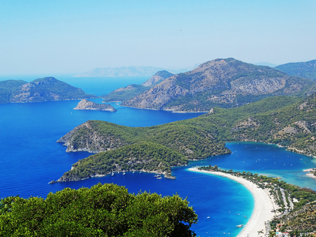 panorama of oludeniz lagoon in sea landscape view of beach  photo