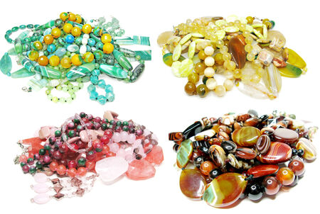 group of semigem crystal beads jewellery isolated on white background photo
