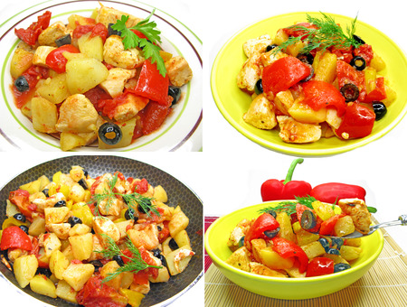 cooked chicken meat with tomato potato and pepper photo