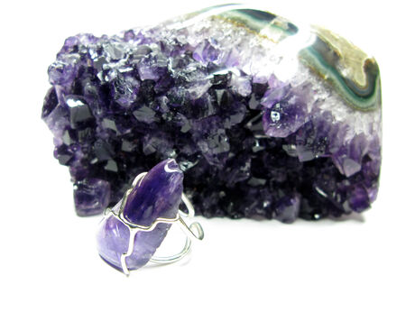 amethyst semigem ring jewellerry isolated on white background photo