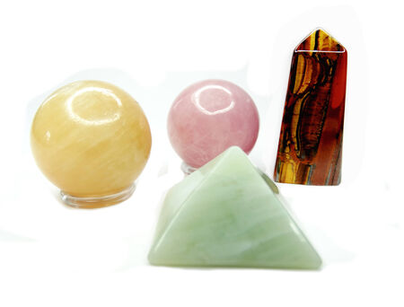 calcite: pink quartz yellow calcite tiger eye jade semigem crystals geological mineral isolated