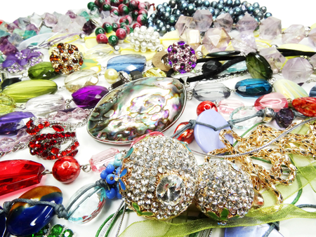 bright crystals beads fashion background photo