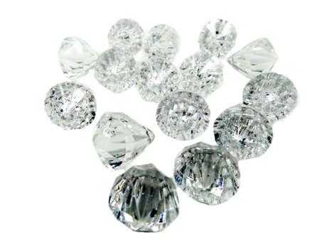 diamond stones: diamond gem stones crystals isolated on white background Stock Photo