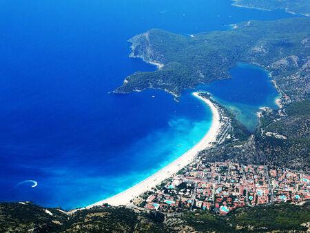 oludeniz: panorama of oludeniz lagoon in sea landscape view of beach
