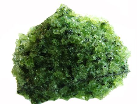 geode: chrysolite semigem geode crystals geological mineral isolated